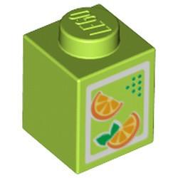 Lime Brick 1 x 1 with Oranges Pattern (Juice Carton)