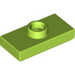 Lime Plate, Modified 1 x 2 with 1 Stud with Groove and Bottom Stud Holder (Jumper) - new