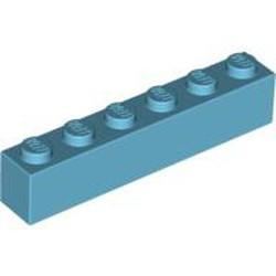 Medium Azure Brick 1 x 6