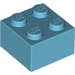 Medium Azure Brick 2 x 2