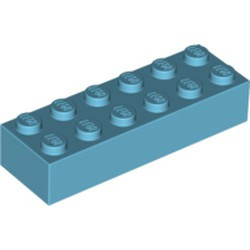 Medium Azure Brick 2 x 6