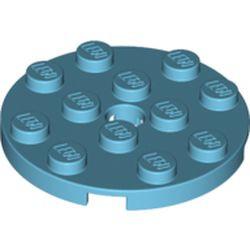 Medium Azure Plate, Round 4 x 4 with Hole