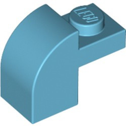 Medium Azure Slope, Curved 2 x 1 x 1 1/3 with Recessed Stud