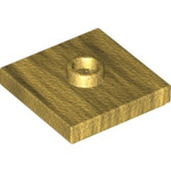 Pearl Gold Plate, Modified 2 x 2 with Groove and 1 Stud in Center (Jumper)
