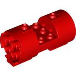 Red Cylinder 3 x 6 x 2 2/3 Horizontal - Round Connections Between Interior Studs