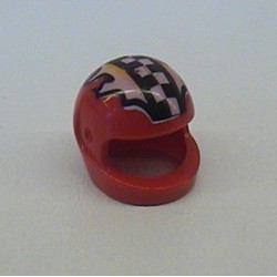 Red Minifigure, Headgear Helmet Motorcycle with Checkered Stripe and Flames Pattern - used