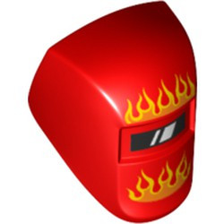 Red Minifigure, Visor Welding with Flames Orange and Yellow Pattern