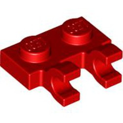Red Plate, Modified 1 x 2 with 2 Open O Clips (Horizontal Grip) - new