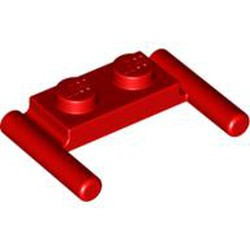 Red Plate, Modified 1 x 2 with Bar Handles - Flat Ends, Low Attachment - used