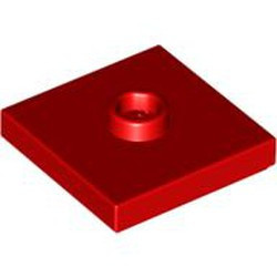 Red Plate, Modified 2 x 2 with Groove and 1 Stud in Center (Jumper) - used