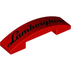 Red Slope, Curved 4 x 1 Double with 'Lamborghini' Pattern - new