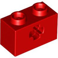Red Technic, Brick 1 x 2 with Axle Hole - new