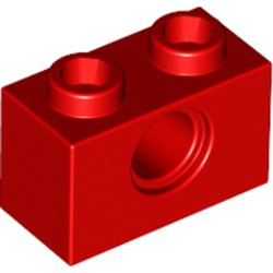 Red Technic, Brick 1 x 2 with Hole - new