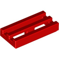 Red Tile, Modified 1 x 2 Grille with Bottom Groove / Lip - used