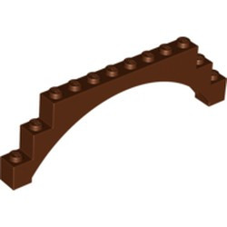Reddish Brown Brick, Arch 1 x 12 x 3 Raised Arch with 5 Cross Supports - used