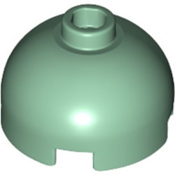 Sand Green Brick, Round 2 x 2 Dome Top - Hollow Stud with Bottom Axle Holder x Shape + Orientation - new