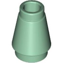 Sand Green Cone 1 x 1 with Top Groove - new