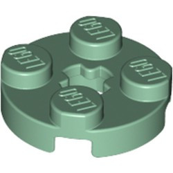 Sand Green Plate, Round 2 x 2 with Axle Hole