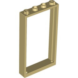 Tan Door, Frame 1 x 4 x 6 with 2 Holes on Top and Bottom
