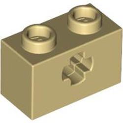 Tan Technic, Brick 1 x 2 with Axle Hole - used