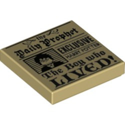 Tan Tile 2 x 2 with Groove with 'the Daily Prophet - EXCLUSIVE HARRY POTTER - The Boy who LIVED!' and Image of Boy with Glasses Pattern - new