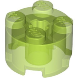 Trans-Bright Green Brick, Round 2 x 2 with Axle Hole