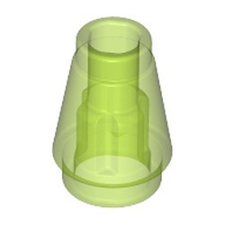Trans-Bright Green Cone 1 x 1 with Top Groove