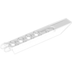 Trans-Clear Hinge Plate 1 x 8 with Angled Side Extensions, 9 Teeth and Rounded Plate Underside - used