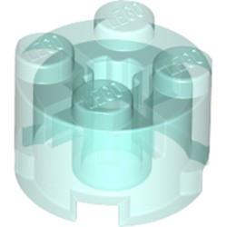 Trans-Light Blue Brick, Round 2 x 2 with Axle Hole