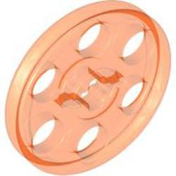 Trans-Neon Orange Technic Wedge Belt Wheel (Pulley) - used