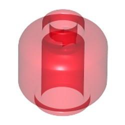 Trans-Red Minifigure, Head (Plain) - new - Vented Stud