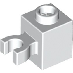 White Brick, Modified 1 x 1 with Open O Clip (Vertical Grip) - Hollow Stud - used