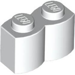 White Brick, Modified 1 x 2 Log - new