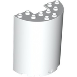 White Cylinder Half 3 x 6 x 6 with 1 x 2 Cutout - used