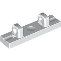 White Hinge Tile 1 x 4 Locking Dual 1 Fingers on Top
