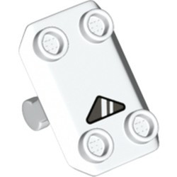 White Plate, Modified 2 x 3 Inverted with 4 Studs and Bar Handle on Bottom - Closed Ends (Rocker Plate), Dark Bluish Gray Triangle Pattern (SW Riot Shield) - used
