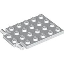 White Plate, Modified 4 x 6 with Trap Door Hinge (Long Pins) - used