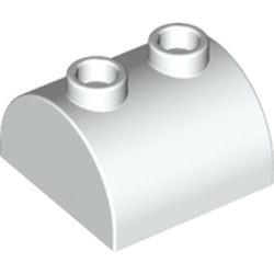 White Slope, Curved 2 x 2 x 1 Double with 2 Studs