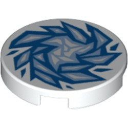 White Tile, Round 2 x 2 with Bottom Stud Holder with Blue and Bright Light Blue Fractured Ice Pattern - used