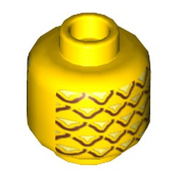 Yellow Minifigure, Head (Without Face) Pineapple Pattern - Hollow Stud - new