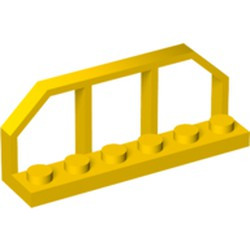 Yellow Plate, Modified 1 x 6 with Train Wagon End - used