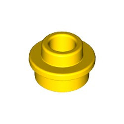 Yellow Plate, Round 1 x 1 with Open Stud