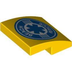Yellow Slope, Curved 2 x 2 with Beach Rescue Logo Pattern