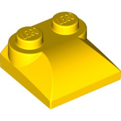 Yellow Slope, Curved 2 x 2 x 2/3 with Two Studs and Curved Sides - used