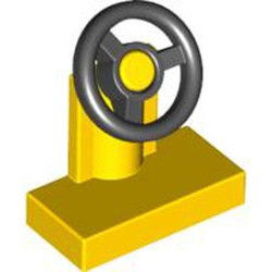 Yellow Vehicle, Steering Stand 1 x 2 with Black Steering Wheel