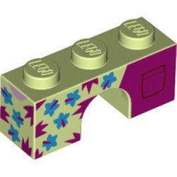 Yellowish Green Brick, Arch 1 x 3 with Dark Azure Flowers, Magenta Spikes and Back Pockets Pattern - new
