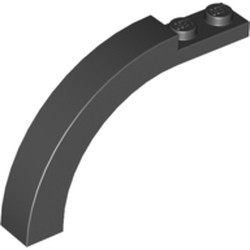 Black Arch 1 x 6 x 3 1/3 Curved Top