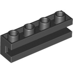 Black Brick, Modified 1 x 4 with Groove