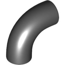 Black Brick, Round 1 x 1 d. 90 Degree Elbow - No Stud - Type 2 - Axle Hole - new