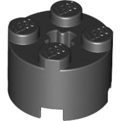 Black Brick, Round 2 x 2 with Axle Hole
